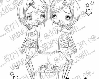 INSTANT DOWNLOAD Kawaii Creepy Cute Digital Stamps Ghoulish Gemini Image No. 241/241B by Lizzy Love