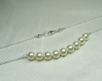 Pearl Bridesmaid Jewelry Pearl Bridal Necklace Pearl Necklace Pearl Bar Necklace Bridesmaid Gift Wedding Jewelry Ivory Pearl Bridal Jewelry