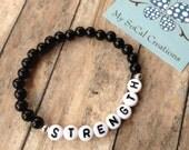 Inspirational Beaded Bracelet-Stretch Bracelet-6mm Black Beads-White Letter Beads-Any Name-Any Word-Any Phrase