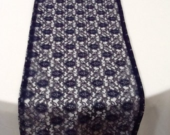 Lace Table Runner, Navy Blue Lace Table Runner, Wedding, Shower, Party, Custom Size Available