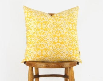 Modern Outdoor Pillow Case, Cushion Cover in Yellow, White & Beige | Patio Decor, Garden Decorations | 18x18 Damask Decorative Pillows