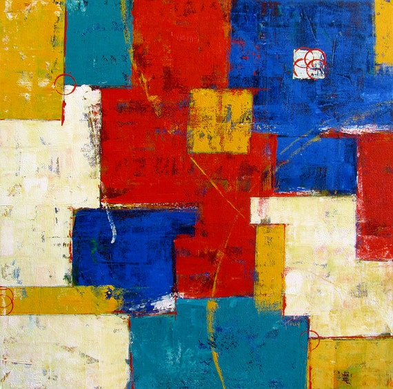 Abstract Painting...Large Abstract Art...Wall Art...Primary Colors