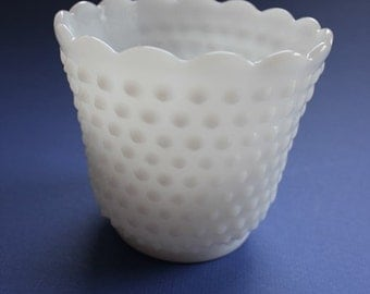 FireKing, Hobnail, Milk Glass, Serving, Bowl, Vase, Candy Dish