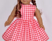 Handmade Pinkish Red Gingham Print Dress and White Hat Fits American Girl Doll