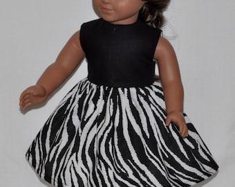 Handmade Black Top and Black and White Zebra Bottom Dress Fits American Girl Doll