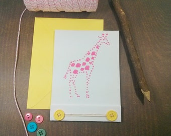 Hand Painted Pink Giraffe Greeting Card - Baby Shower - New Baby - Girls Birthday Card - Giraffe Stationery -  Thank You - Custom Stationery