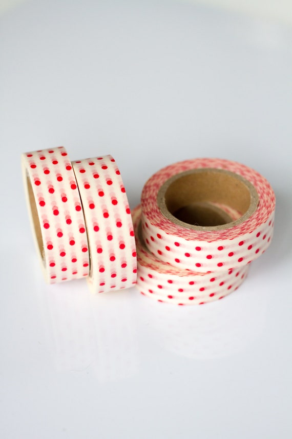 WASHI TAPE CLEARANCE - 1 Roll of Red and White Polka Dot Masking Tape / Japanese Washi Tape (.60 inches x 33 feet)