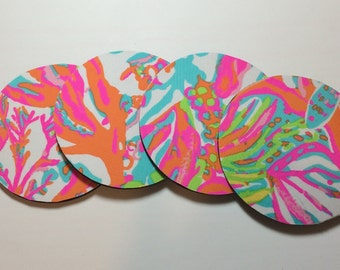 4 Coasters made with Lilly Pulitzer fabric Scuba to Cuba