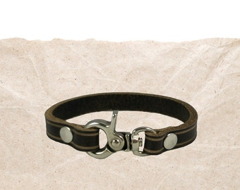 Leather cuff, wrist band, bracelet, brown,  leather, handmade, Melbourne, Australia, silver hardware.