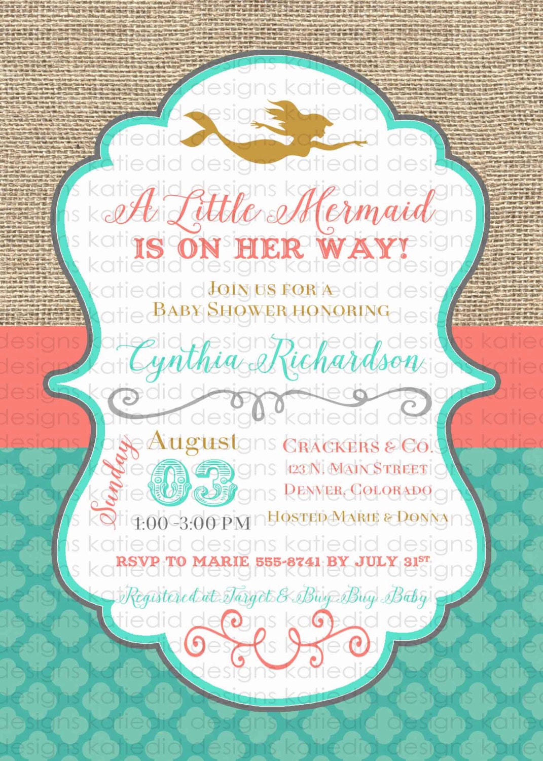mermaid baby shower invitation bridal shower under the sea wedding hen party high tea rehearsal engagement invitation