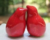 Red Wedding Cake Topper, Simple and Elegant Handmade Porcelain Love Birds, Personalized Cake Topper Birds, Anniversary Gift