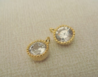 Gold Small round crystal Stone bead, clear cz connector, petite Clear Stone pendants, Gemstones, Beads, 2 pc, U51013