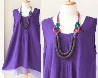 SALE 50% off, Round Neck Cotton Sleeveless Two Layer Dress, Loose Fitting Dress, Maternity Dress in Violet