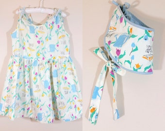Vintage 1950s Girls' Dress • Watering Can Floral Print • Sun Bonnet and Dress • 4T