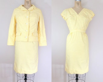 1950s Yellow Seersucker Suit • SUN of a GUN DRESS • Vintage 50s Dress and Jacket Set • xs