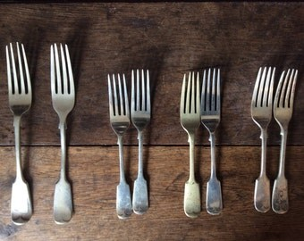 Vintage English 8 forks large dinner and small pudding cake cutlery circa 1920's / English Shop