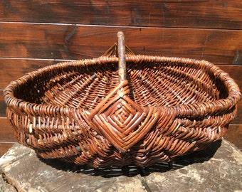 Vintage French large apple fruit picking harvesting wicker wood shopping basket circa 1950-60's / English Shop