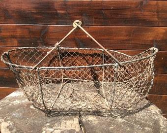 Vintage French damaged apple fruit picking harvesting metal wire wood basket planter circa 1950s / English Shop