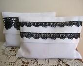 Black white themed wedding gifts ideas,favor,set of Bridesmaid gifts- clutch -pashmina-shawl -scarf/linen lace custom favor bag Nurdanceyiz