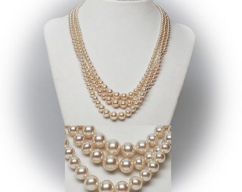 Multistrand Faux Pearl Necklace with Sterling Silver Spring Clasp