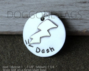 Dog ID tag- personalized lightening bolt metal tag - Zeus