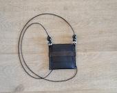 black minimalistic embellished gypsy coin pouch - boho talisman - black genuine leather - festival necklace - tribal secret keeper