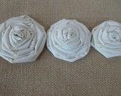 Cream Muslin Rosettes Flowers Embellishment Supplies Rustic Shabby Chic Wedding Decor Set of 3