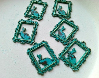 6 pcs - Handmade Faux Verdigris Patina Framed Rabbit Metal Charms - 24x18mm
