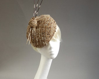 Dutch design percer hat in brown creme and off white boucle tweet fabric with porcupine spines / quills on comb