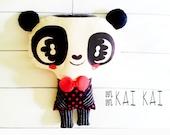 Panda Doll Handmade Plush Cushion Pillow - Kai Kai - Home decor - wedding gifts - indie handmade
