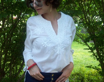 White On White Embroidered Mexican Tunic Top Festival Top Hippie Boho Summer Fashion