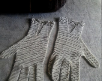 Vintage French gloves knitted crochet