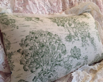 Green Toile pillow cover with romantic scene