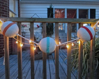 Seaside Sale. Nautical Styrofoam Hand Painted Buoys, Red, Turquoise, Sea Green, Orange