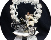 Harley Davidson Motorcycle Bike sexy Theme Wedding YOU PICK Bride & Groom Cake Topper or Glasses, Knife set or Guest book  funny top