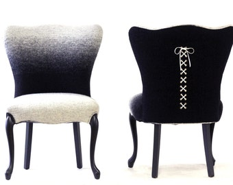 Pair of Ombre Upholstered Lace Up Chairs