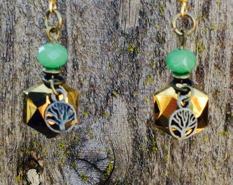 Gorgeous gold and jade bead tree dangle earrings