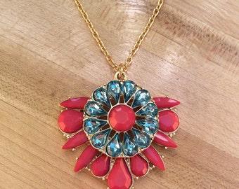 Gorgeous pink and aqua rhinestone necklace