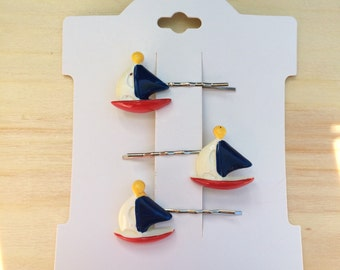 Red white and blue sailboat bobby pins