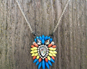 Gorgeous orange blue and yellow statement necklace
