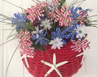 Patriotic Red WallBasket