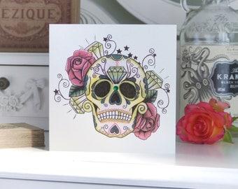 Tattoo Style Emerald and Rose Sugar Skull Luxury Handmade birthday  Card
