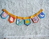 festival bunting home altars meditational hand embroidered vintage sun moon elephant lotus peacock conch shell syamarts india inspired