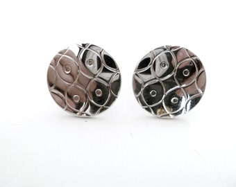 Swank Vintage Silver Tone Round Geometric Cuff Links