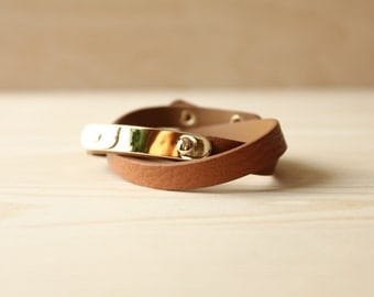 YC Gold Brass Soft Togo Leather Bracelet(Brown)
