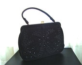 1950's Beautiful Black Velvet Beaded Handbag, Huge Statement Bag