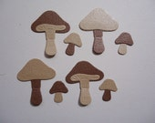 Mini Mushroom Die Cuts Brown x 8 Embellishments Scrapbooking Card Topper Fully Assembled Fairy Garden Toad Stool Magical Forest