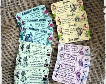 12 Assorted Alice In Wonderland Themed Tea Party 'Admit One' Tickets