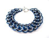 Chainmail Bracelet - Royal Blue Garter Belt - Chainmaille Jewelry - Chainmaille Bracelet - Handcrafted Jewelry - Chain mail Bracelet