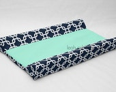 Designer Contour Changing Pad Cover - Navy Square - Solid Mint Cotton or Minky - Everly